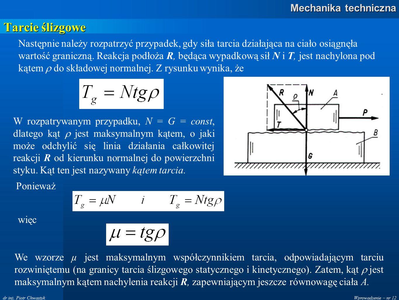Wprowadzenie – nr 12 Mechanika techniczna dr inż. Piotr Chwastyk Tarcie ślizgowe Następnie należy rozpatrzyć przypadek, gdy siła tarcia działająca na