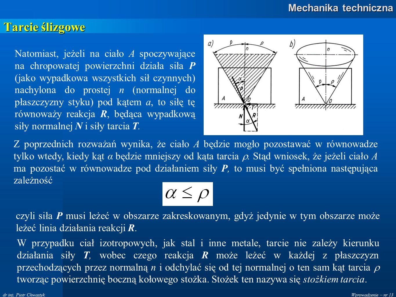 Wprowadzenie – nr 13 Mechanika techniczna dr inż. Piotr Chwastyk Tarcie ślizgowe Natomiast, jeżeli na ciało A spoczywające na chropowatej powierzchni