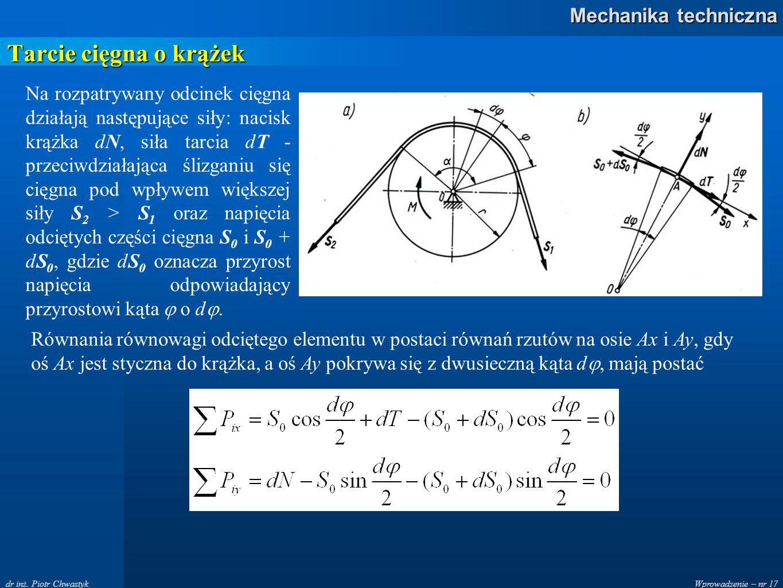 Wprowadzenie – nr 17 Mechanika techniczna dr inż. Piotr Chwastyk Tarcie cięgna o krążek Na rozpatrywany odcinek cięgna działają następujące siły: naci