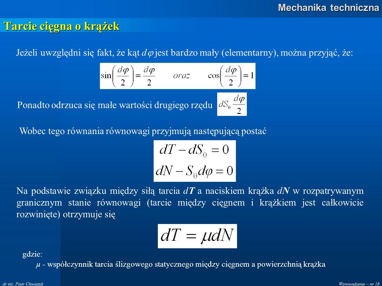 Wprowadzenie – nr 18 Mechanika techniczna dr inż. Piotr Chwastyk Tarcie cięgna o krążek Jeżeli uwzględni się fakt, że kąt d  jest bardzo mały (elemen