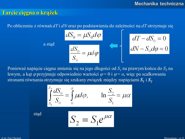 Wprowadzenie – nr 19 Mechanika techniczna dr inż. Piotr Chwastyk Tarcie cięgna o krążek Po obliczeniu z równań dT i dN oraz po podstawieniu do zależno