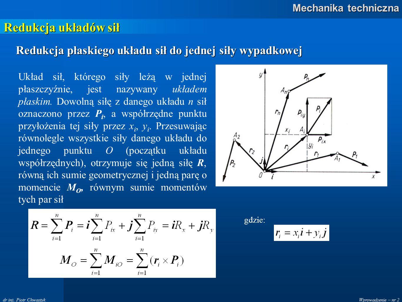 Wprowadzenie – nr 2 Mechanika techniczna dr inż. Piotr Chwastyk Redukcja układów sił Redukcja płaskiego układu sił do jednej siły wypadkowej Układ sił