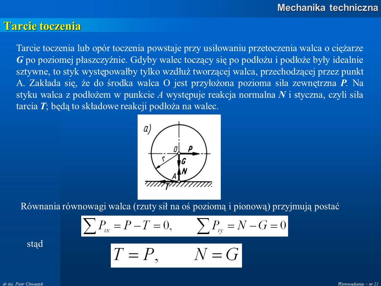 Wprowadzenie – nr 21 Mechanika techniczna dr inż. Piotr Chwastyk Tarcie toczenia Tarcie toczenia lub opór toczenia powstaje przy usiłowaniu przetoczen