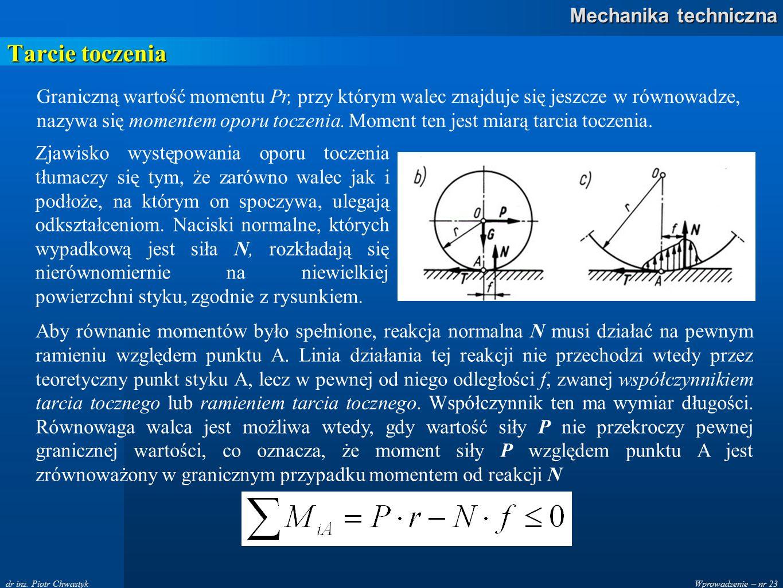 Wprowadzenie – nr 23 Mechanika techniczna dr inż. Piotr Chwastyk Tarcie toczenia Zjawisko występowania oporu toczenia tłumaczy się tym, że zarówno wal