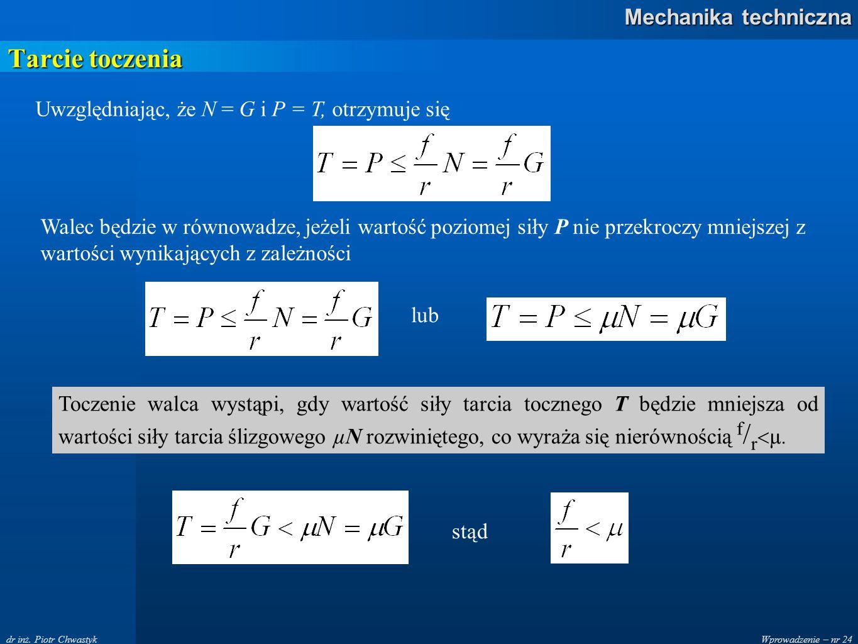 Wprowadzenie – nr 24 Mechanika techniczna dr inż. Piotr Chwastyk Tarcie toczenia Uwzględniając, że N = G i P = T, otrzymuje się Walec będzie w równowa