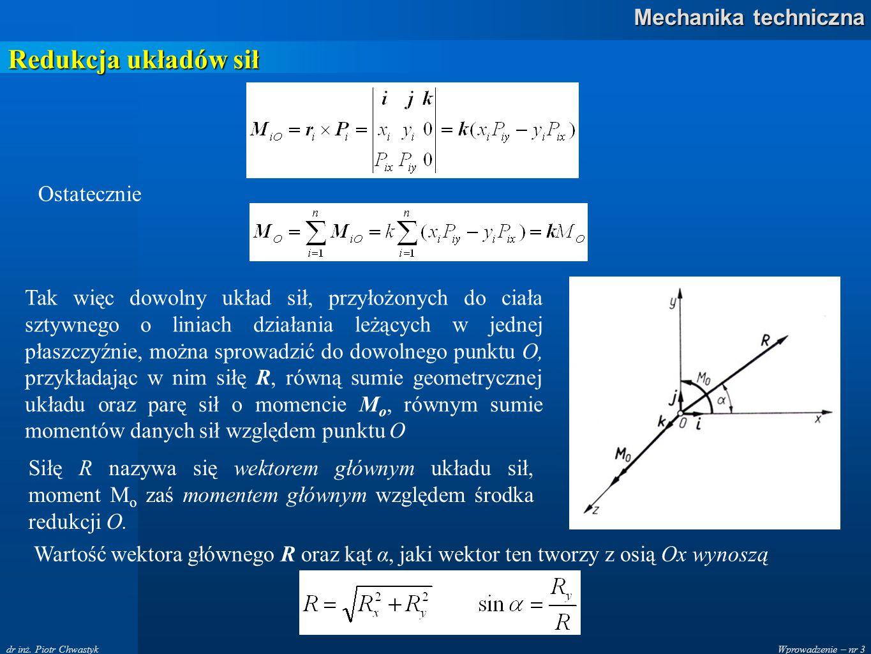 Wprowadzenie – nr 3 Mechanika techniczna dr inż. Piotr Chwastyk Redukcja układów sił Ostatecznie Tak więc dowolny układ sił, przyłożonych do ciała szt