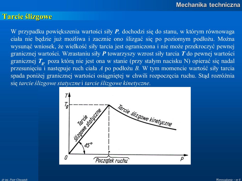 Wprowadzenie – nr 8 Mechanika techniczna dr inż. Piotr Chwastyk Tarcie ślizgowe W przypadku powiększenia wartości siły P, dochodzi się do stanu, w któ