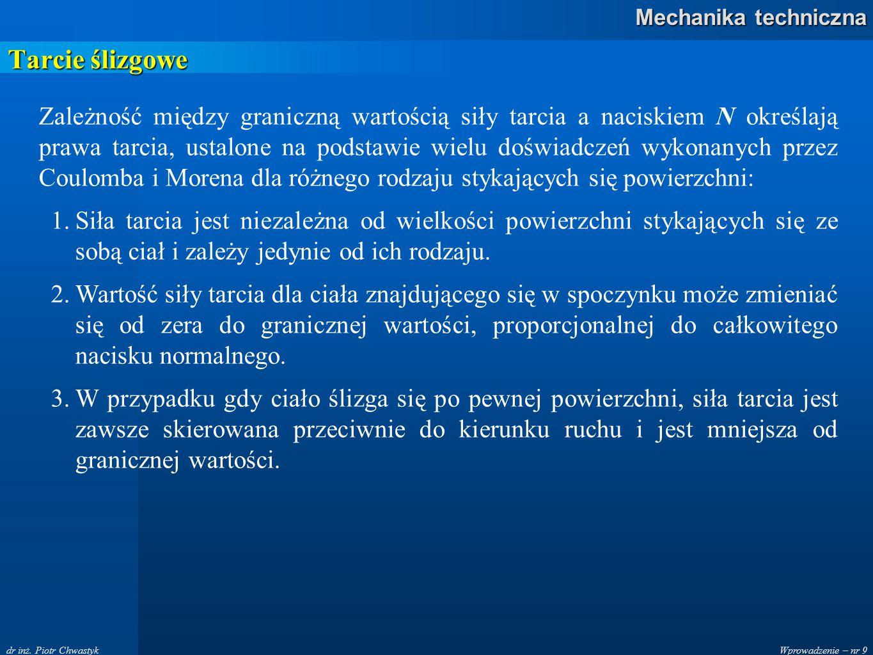 Wprowadzenie – nr 9 Mechanika techniczna dr inż. Piotr Chwastyk Tarcie ślizgowe Zależność między graniczną wartością siły tarcia a naciskiem N określa