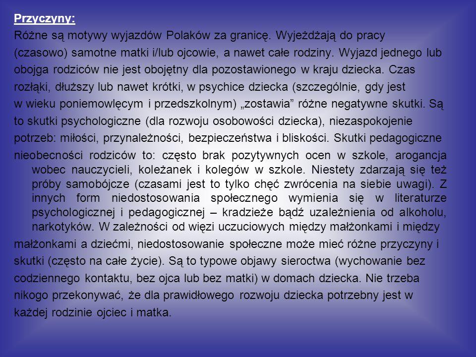 Przyczyny: Różne są motywy wyjazdów Polaków za granicę. Wyjeżdżają do pracy (czasowo) samotne matki i/lub ojcowie, a nawet całe rodziny. Wyjazd jedneg