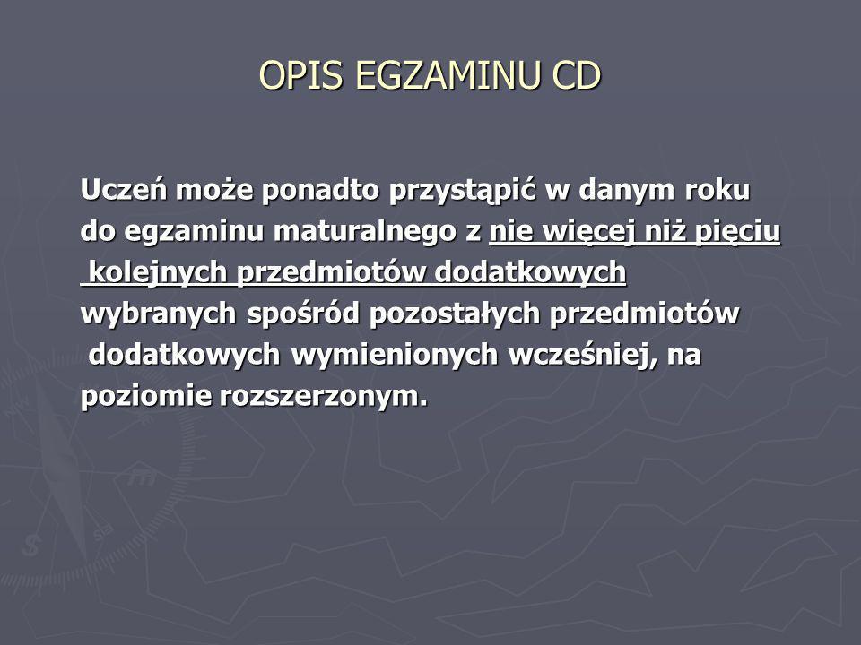 OPIS EGZAMINU CD ► Egzamin maturalny z języka obcego nowożytnego jako przedmiotu obowiązkowego jest zdawany w części ustnej i w części pisemnej z tego samego języka.