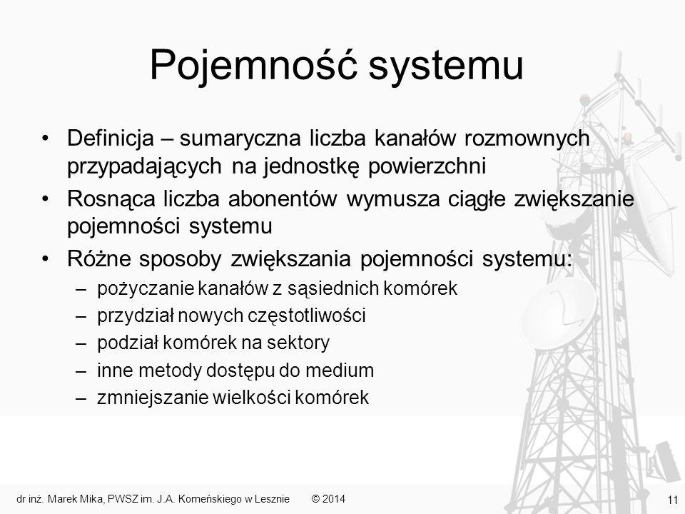 Pojemność systemu Definicja – sumaryczna liczba kanałów rozmownych przypadających na jednostkę powierzchni Rosnąca liczba abonentów wymusza ciągłe zwi