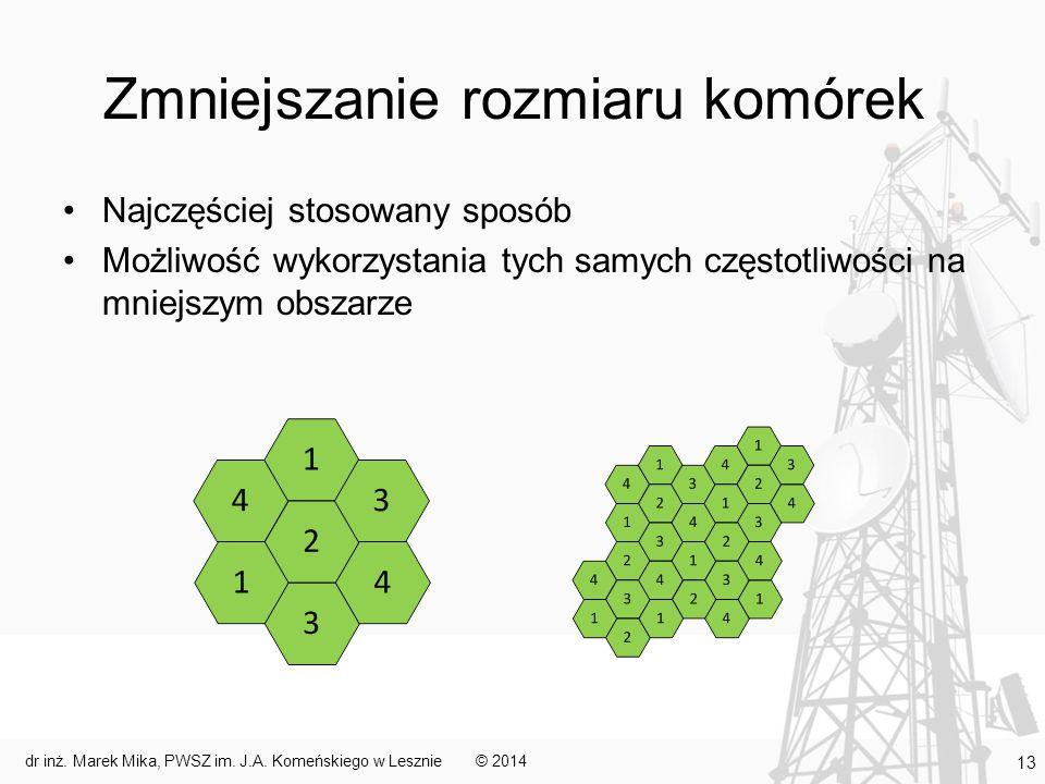Zmniejszanie rozmiaru komórek Najczęściej stosowany sposób Możliwość wykorzystania tych samych częstotliwości na mniejszym obszarze © 2014dr inż. Mare