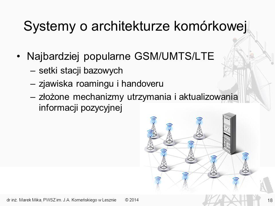 Systemy o architekturze komórkowej Najbardziej popularne GSM/UMTS/LTE –setki stacji bazowych –zjawiska roamingu i handoveru –złożone mechanizmy utrzym