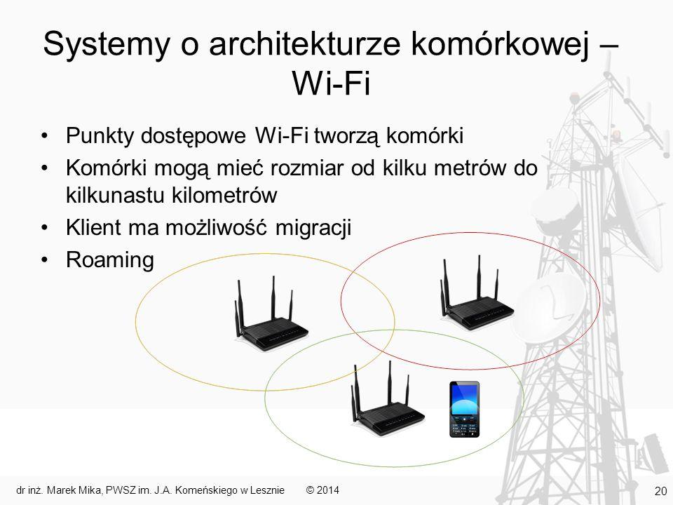 Systemy o architekturze komórkowej – Wi-Fi Punkty dostępowe Wi-Fi tworzą komórki Komórki mogą mieć rozmiar od kilku metrów do kilkunastu kilometrów Kl