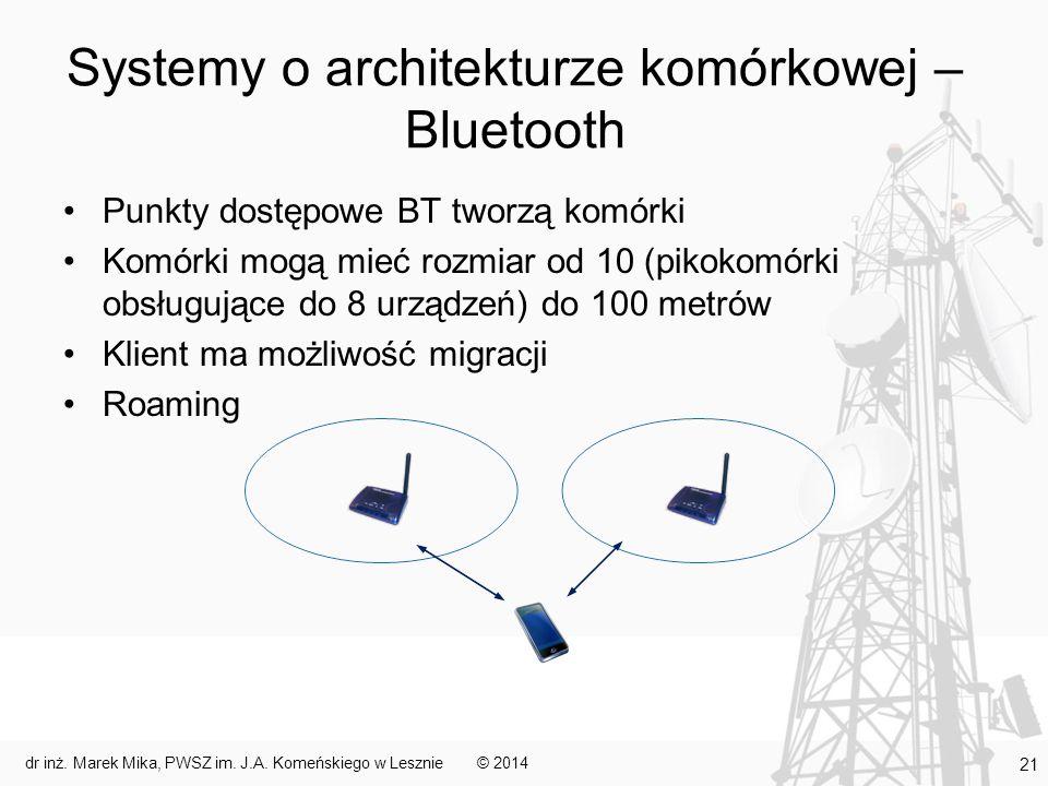 Systemy o architekturze komórkowej – Bluetooth Punkty dostępowe BT tworzą komórki Komórki mogą mieć rozmiar od 10 (pikokomórki obsługujące do 8 urządz