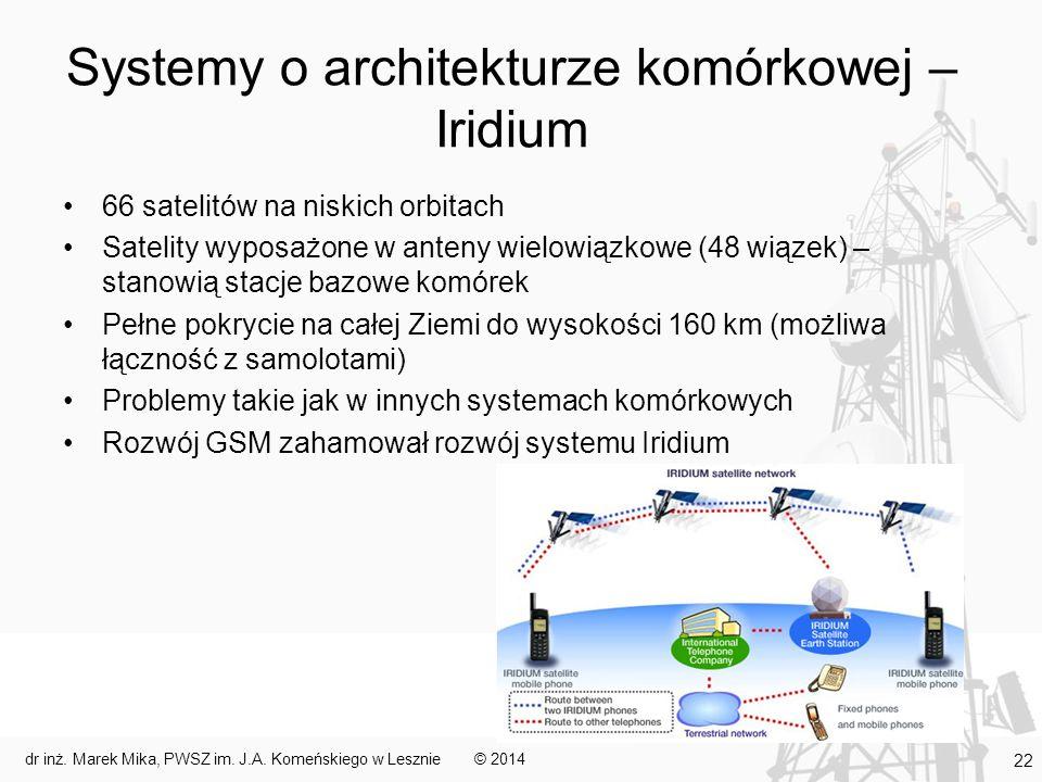 Systemy o architekturze komórkowej – Iridium 66 satelitów na niskich orbitach Satelity wyposażone w anteny wielowiązkowe (48 wiązek) – stanowią stacje