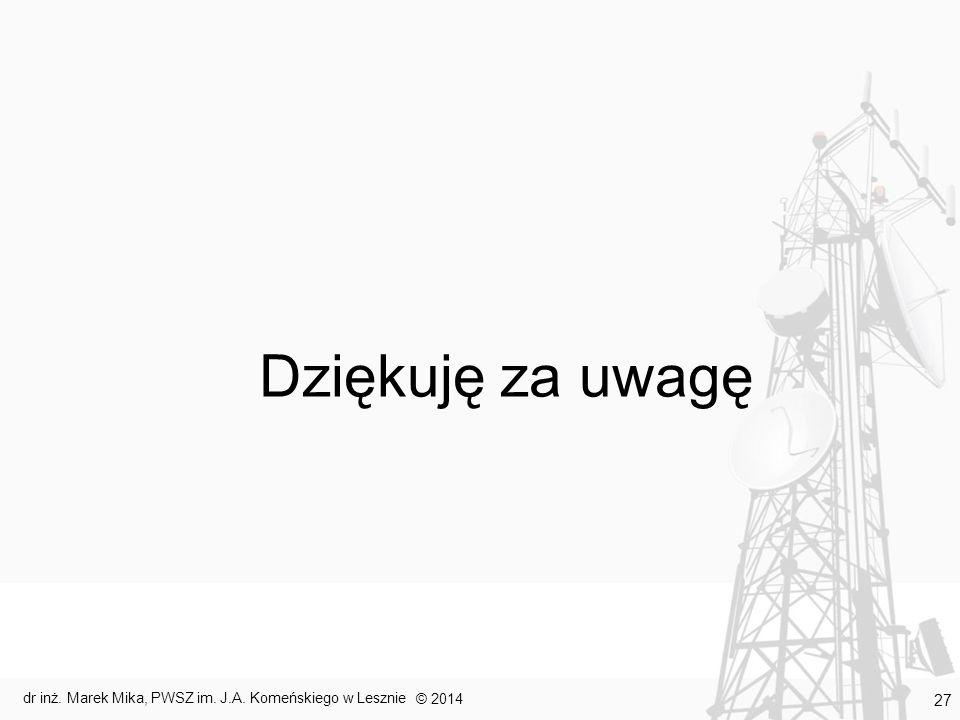 Dziękuję za uwagę © 2014 dr inż. Marek Mika, PWSZ im. J.A. Komeńskiego w Lesznie 27