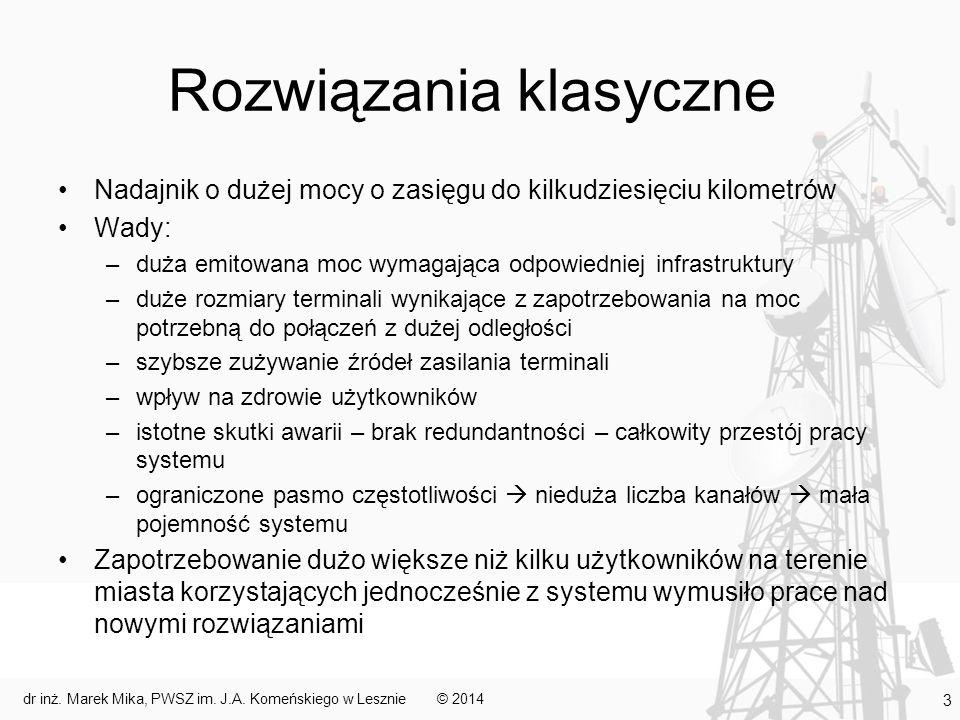Rozwiązania klasyczne Nadajnik o dużej mocy o zasięgu do kilkudziesięciu kilometrów Wady: –duża emitowana moc wymagająca odpowiedniej infrastruktury –