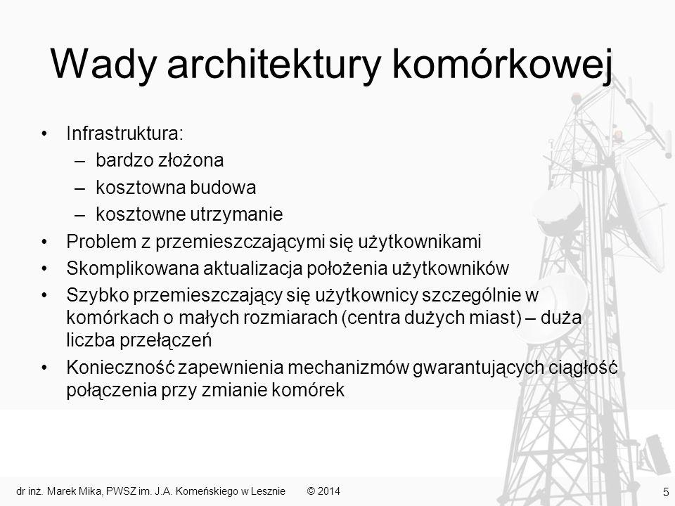Wady architektury komórkowej Infrastruktura: –bardzo złożona –kosztowna budowa –kosztowne utrzymanie Problem z przemieszczającymi się użytkownikami Sk