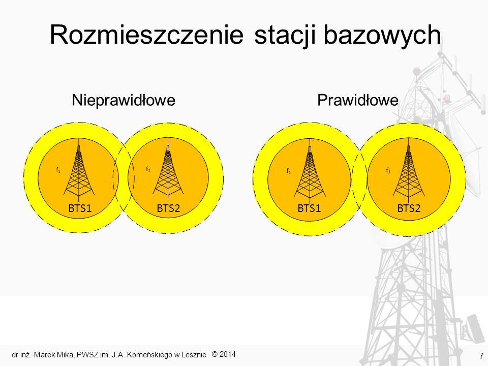 Rozmieszczenie stacji bazowych NieprawidłowePrawidłowe © 2014 dr inż. Marek Mika, PWSZ im. J.A. Komeńskiego w Lesznie 7 BTS1 BTS2