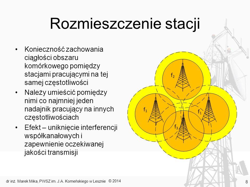 Rozmieszczenie stacji Konieczność zachowania ciągłości obszaru komórkowego pomiędzy stacjami pracującymi na tej samej częstotliwości Należy umieścić p