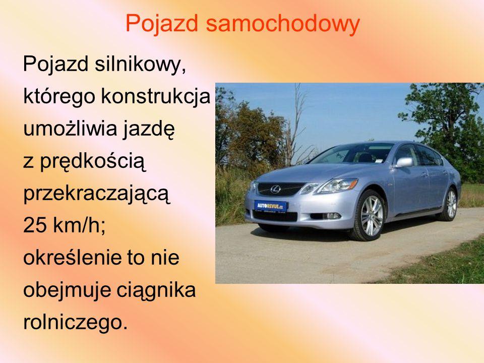 Pojazd samochodowy Pojazd silnikowy, którego konstrukcja umożliwia jazdę z prędkością przekraczającą 25 km/h; określenie to nie obejmuje ciągnika rolniczego.