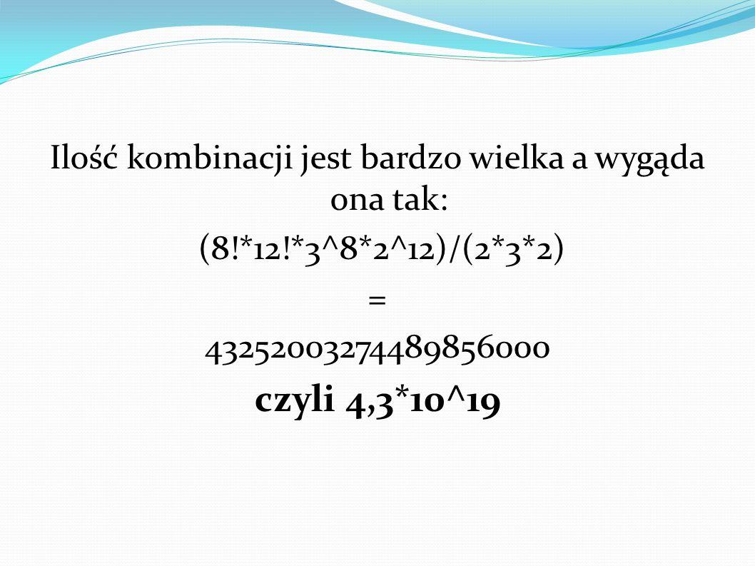 Ilość kombinacji jest bardzo wielka a wygąda ona tak: (8!*12!*3^8*2^12)/(2*3*2)  = 43252003274489856000 czyli 4,3*10^19