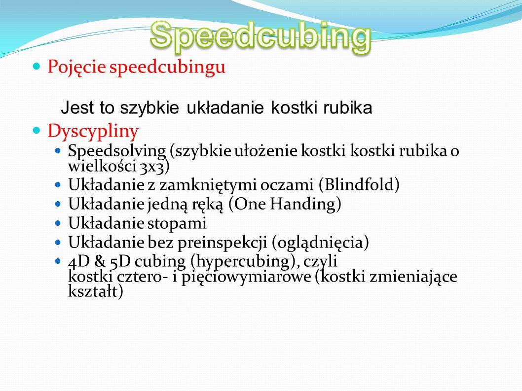 Pojęcie speedcubingu Dyscypliny Speedsolving (szybkie ułożenie kostki kostki rubika o wielkości 3x3)  Układanie z zamkniętymi oczami (Blindfold)  Uk