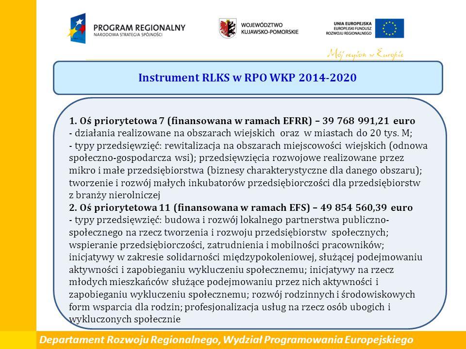 Departament Rozwoju Regionalnego, Wydział Programowania Europejskiego Instrument RLKS w RPO WKP 2014-2020 1. Oś priorytetowa 7 (finansowana w ramach E