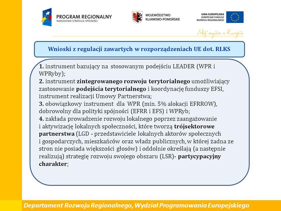 Departament Rozwoju Regionalnego, Wydział Programowania Europejskiego Wnioski z regulacji zawartych w rozporządzeniach UE dot. RLKS 1. instrument bazu