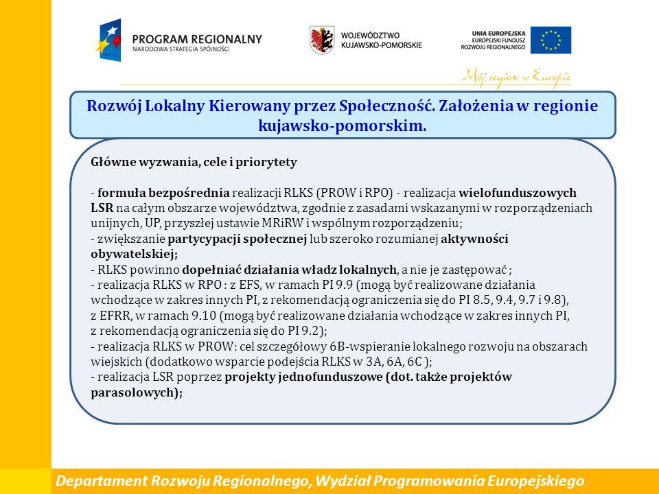 Rozwój Lokalny Kierowany przez Społeczność. Założenia w regionie kujawsko-pomorskim. Główne wyzwania, cele i priorytety - formuła bezpośrednia realiza