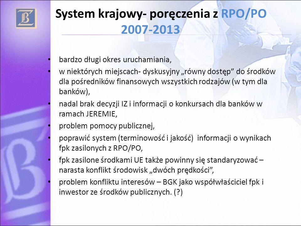 """System krajowy- poręczenia z RPO/PO 2007-2013 bardzo długi okres uruchamiania, w niektórych miejscach- dyskusyjny """"równy dostęp"""" do środków dla pośred"""