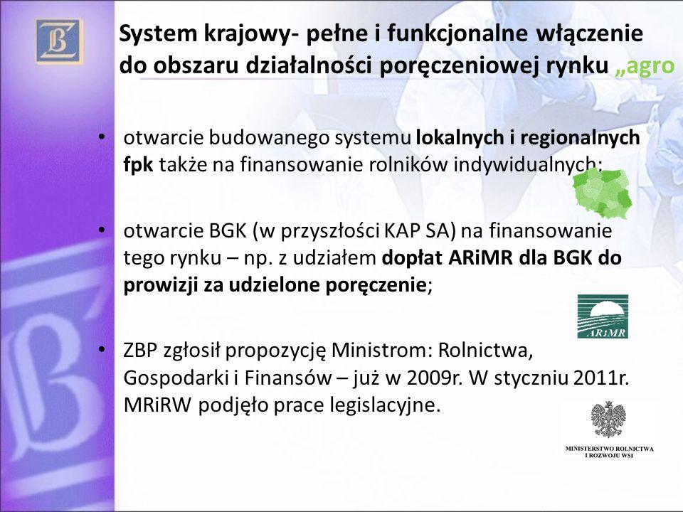 """System krajowy- pełne i funkcjonalne włączenie do obszaru działalności poręczeniowej rynku """"agro otwarcie budowanego systemu lokalnych i regionalnych fpk także na finansowanie rolników indywidualnych; otwarcie BGK (w przyszłości KAP SA) na finansowanie tego rynku – np."""