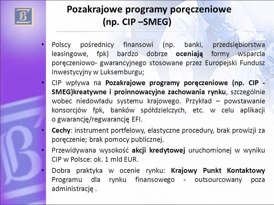 Pozakrajowe programy poręczeniowe (np. CIP –SMEG) Polscy pośrednicy finansowi (np. banki, przedsiębiorstwa leasingowe, fpk) bardzo dobrze oceniają for