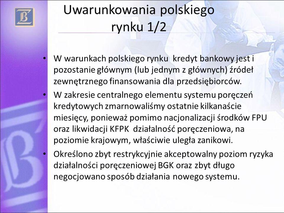 Uwarunkowania polskiego rynku 1/2 Błędne umiejscowienie działalności poręczeniowej w kontekście przepisów UE dotyczących pomocy publicznej, co skutkuje szeregiem barier formalnych.