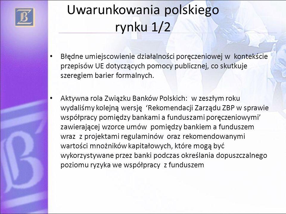 Uwarunkowania polskiego rynku 1/2 Błędne umiejscowienie działalności poręczeniowej w kontekście przepisów UE dotyczących pomocy publicznej, co skutkuj