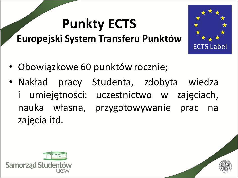 Punkty ECTS Europejski System Transferu Punktów Obowiązkowe 60 punktów rocznie; Nakład pracy Studenta, zdobyta wiedza i umiejętności: uczestnictwo w z