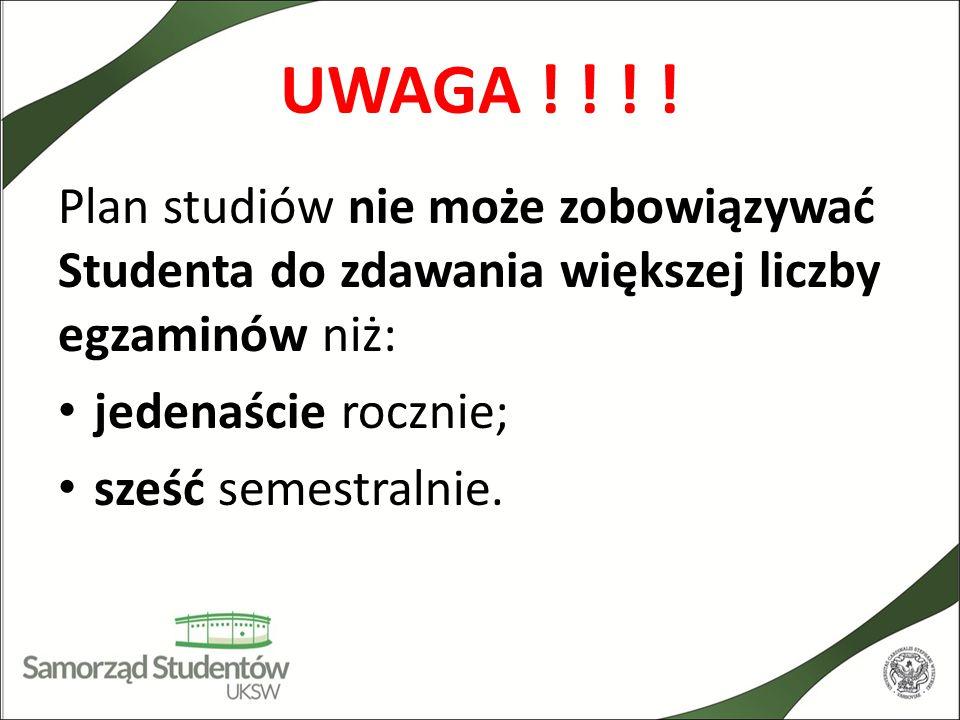 UWAGA ! ! ! ! Plan studiów nie może zobowiązywać Studenta do zdawania większej liczby egzaminów niż: jedenaście rocznie; sześć semestralnie.