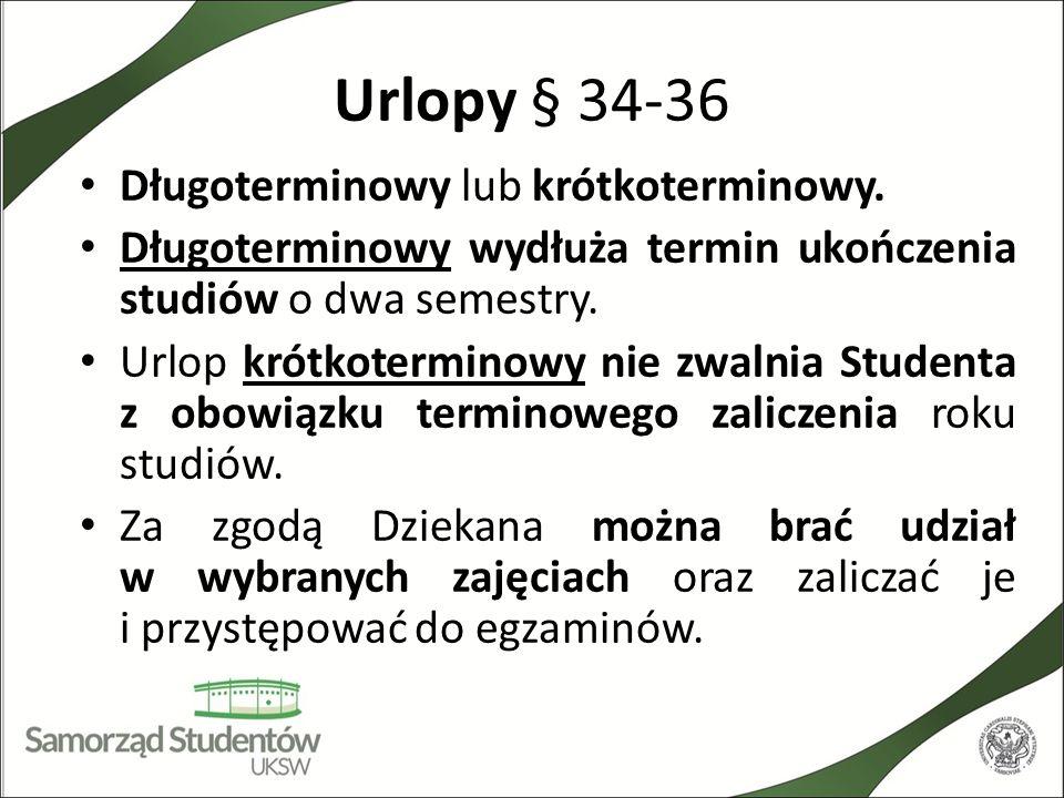 Urlopy § 34-36 Długoterminowy lub krótkoterminowy. Długoterminowy wydłuża termin ukończenia studiów o dwa semestry. Urlop krótkoterminowy nie zwalnia