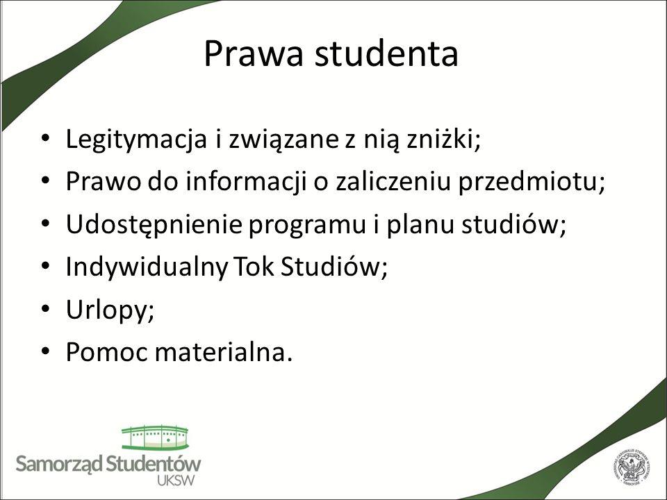 Prawa studenta Legitymacja i związane z nią zniżki; Prawo do informacji o zaliczeniu przedmiotu; Udostępnienie programu i planu studiów; Indywidualny