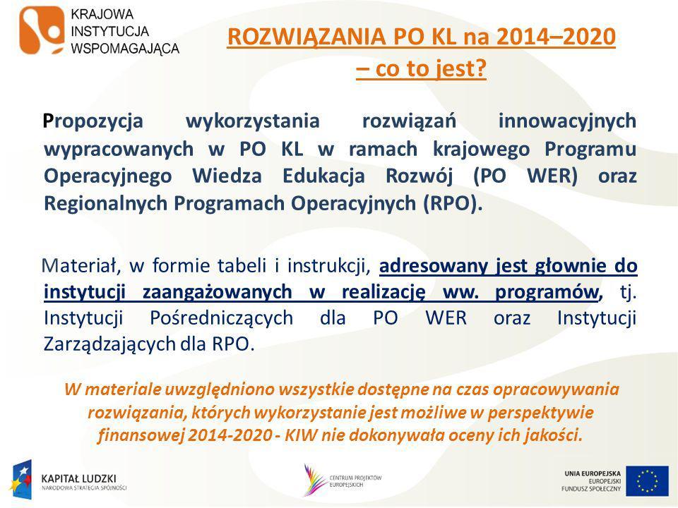 ROZWIĄZANIA PO KL na 2014–2020 – co to jest.