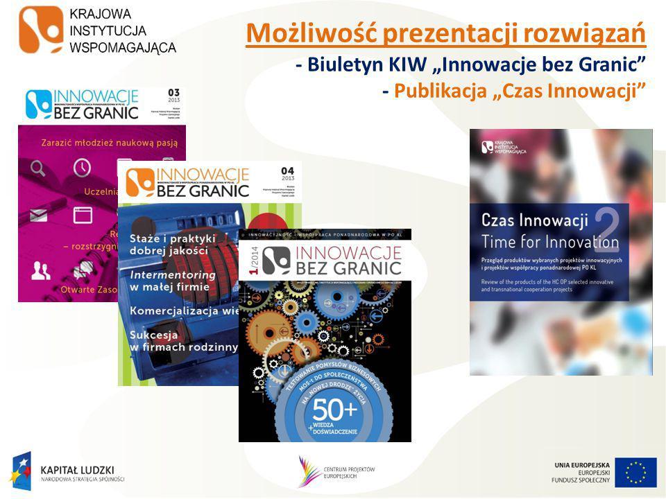 """Możliwość prezentacji rozwiązań - Biuletyn KIW """"Innowacje bez Granic - Publikacja """"Czas Innowacji -"""
