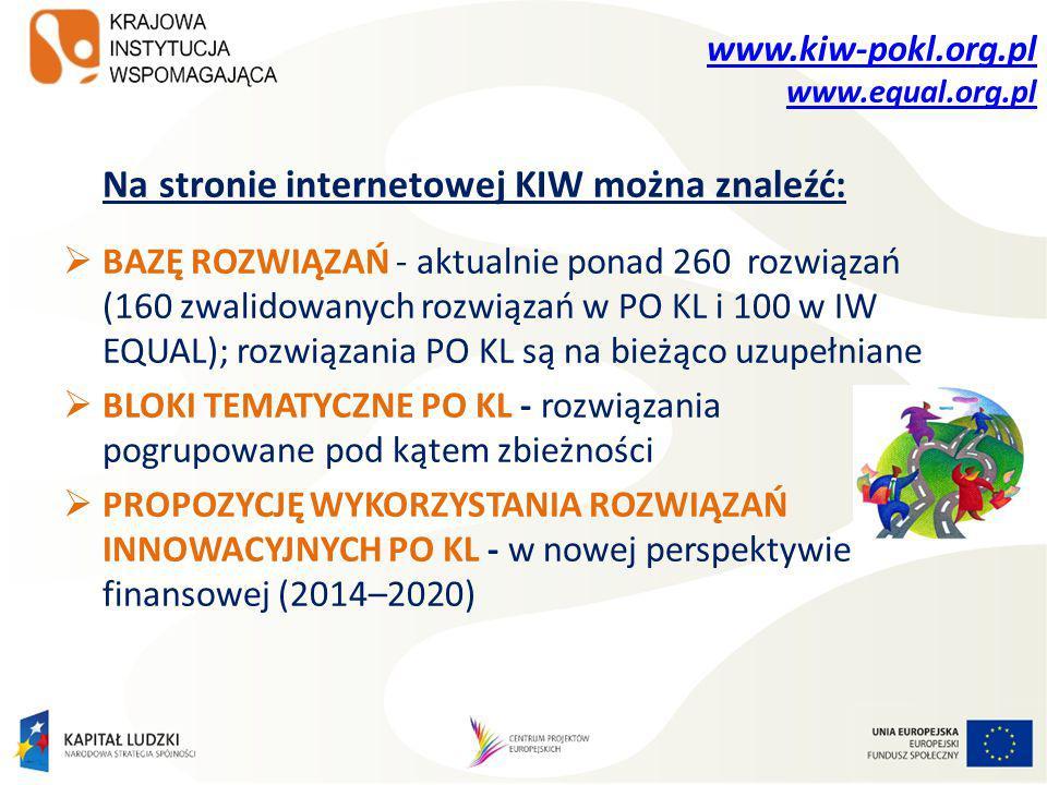 www.kiw-pokl.org.pl www.equal.org.pl Na stronie internetowej KIW można znaleźć:  BAZĘ ROZWIĄZAŃ - aktualnie ponad 260 rozwiązań (160 zwalidowanych rozwiązań w PO KL i 100 w IW EQUAL); rozwiązania PO KL są na bieżąco uzupełniane  BLOKI TEMATYCZNE PO KL - rozwiązania pogrupowane pod kątem zbieżności  PROPOZYCJĘ WYKORZYSTANIA ROZWIĄZAŃ INNOWACYJNYCH PO KL - w nowej perspektywie finansowej (2014–2020)