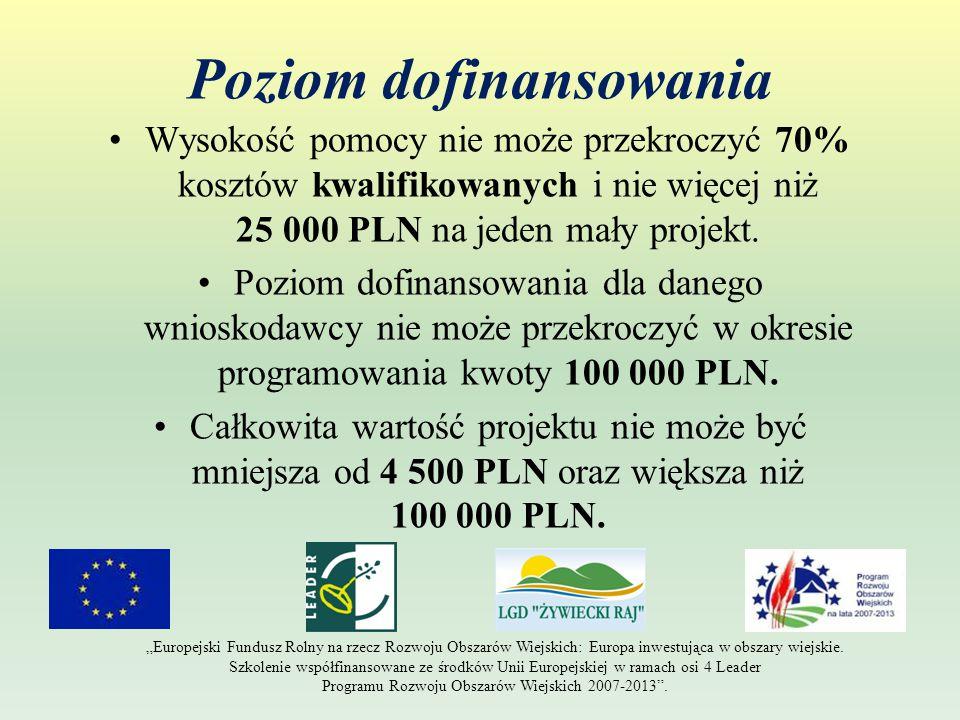 Poziom dofinansowania Wysokość pomocy nie może przekroczyć 70% kosztów kwalifikowanych i nie więcej niż 25 000 PLN na jeden mały projekt.