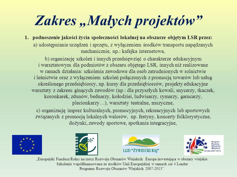 """Zakres """"Małych projektów (c.d.) d) zagospodarowanie przestrzeni publicznej z wyłączeniem pasów drogowych dróg gminnych, powiatowych i wojewódzkich."""