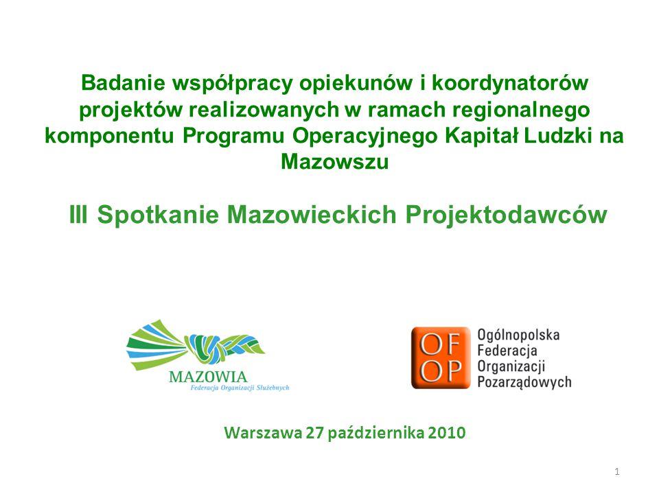 1 Badanie współpracy opiekunów i koordynatorów projektów realizowanych w ramach regionalnego komponentu Programu Operacyjnego Kapitał Ludzki na Mazowszu Warszawa 27 października 2010 III Spotkanie Mazowieckich Projektodawców