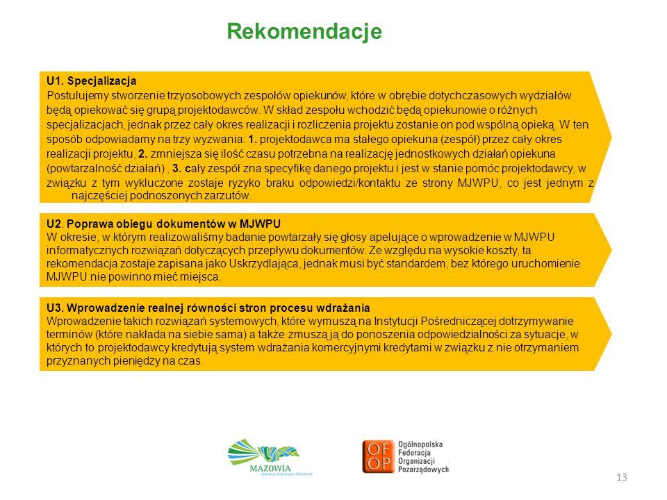 13 Rekomendacje U1. Specjalizacja Postulujemy stworzenie trzyosobowych zespołów opiekunów, które w obrębie dotychczasowych wydziałów będą opiekować si