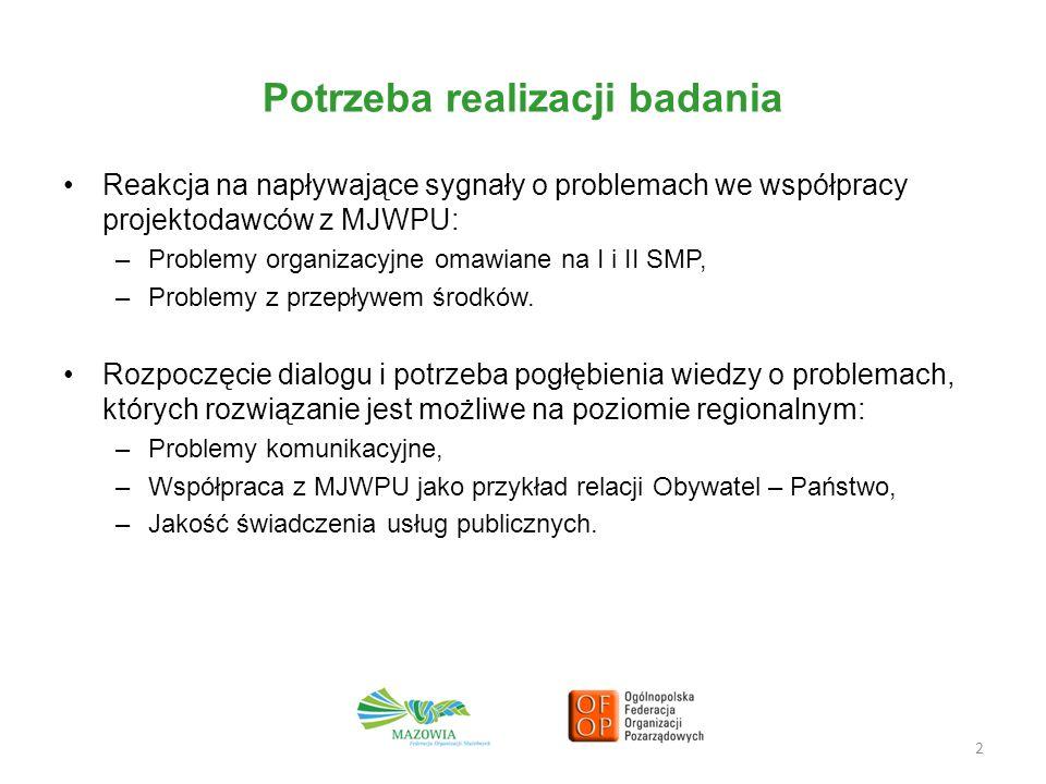 Potrzeba realizacji badania Reakcja na napływające sygnały o problemach we współpracy projektodawców z MJWPU: –Problemy organizacyjne omawiane na I i II SMP, –Problemy z przepływem środków.