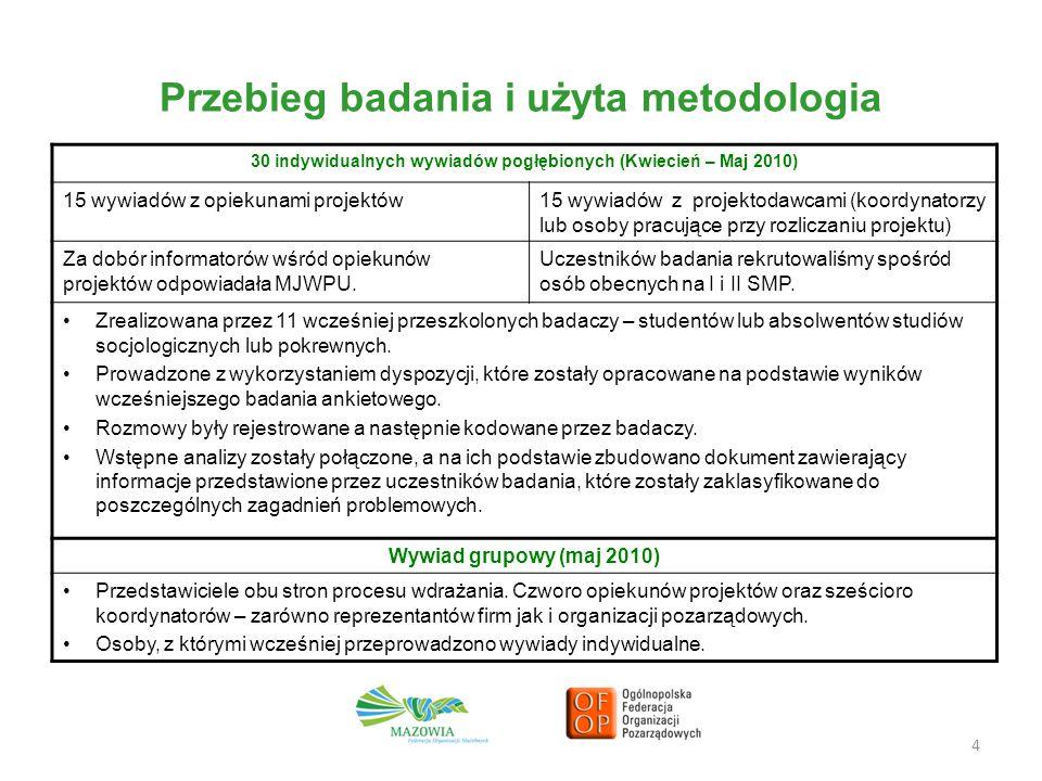 Przebieg badania i użyta metodologia 4 30 indywidualnych wywiadów pogłębionych (Kwiecień – Maj 2010) 15 wywiadów z opiekunami projektów15 wywiadów z p