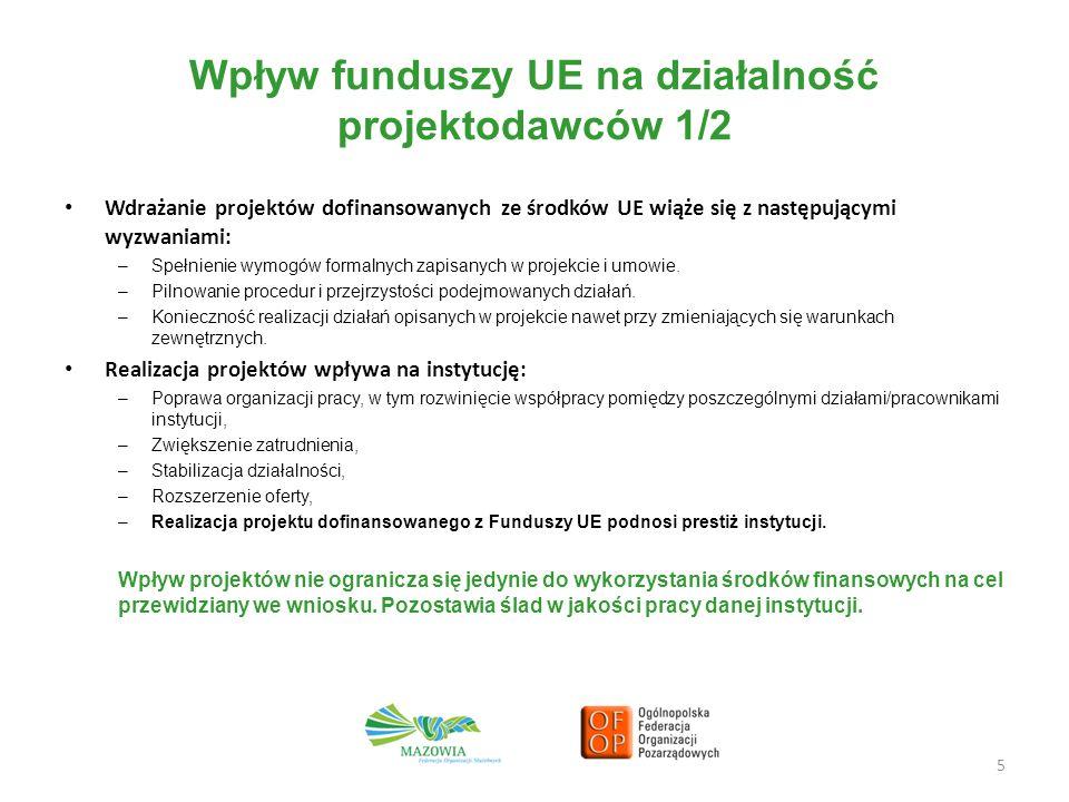 Wpływ funduszy UE na działalność projektodawców 1/2 Wdrażanie projektów dofinansowanych ze środków UE wiąże się z następującymi wyzwaniami: –Spełnienie wymogów formalnych zapisanych w projekcie i umowie.